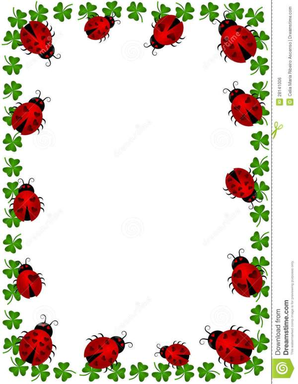 ladybugs border frame with clovers