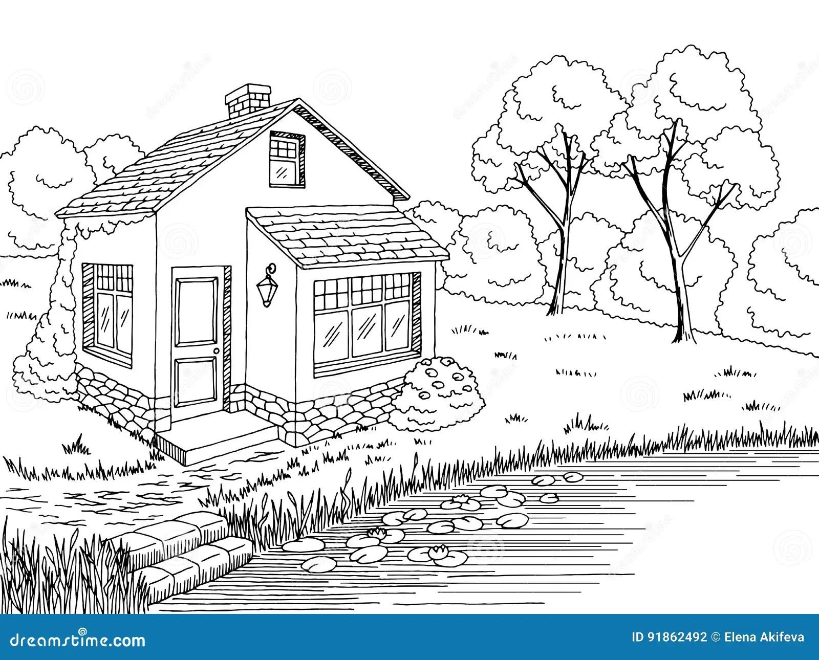 Tree House Graphic Art Black White Landscape Illustration