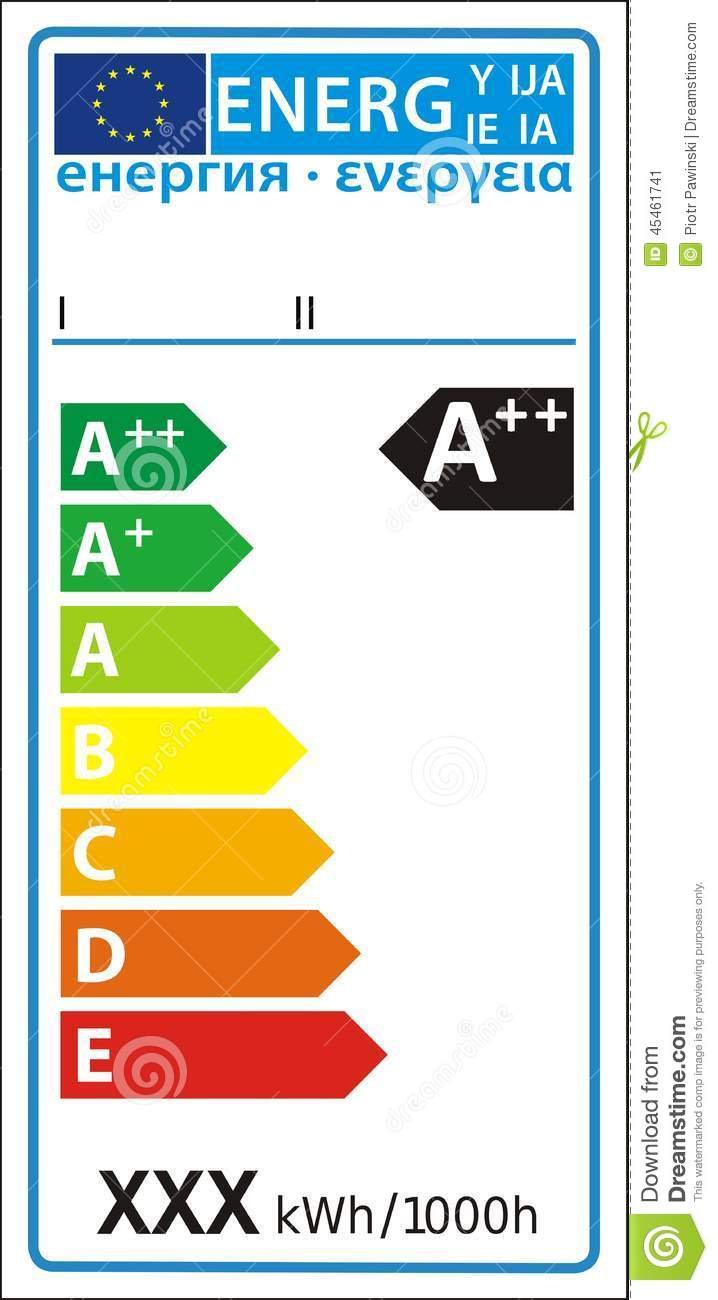 hight resolution of lamp new energy rating graph label