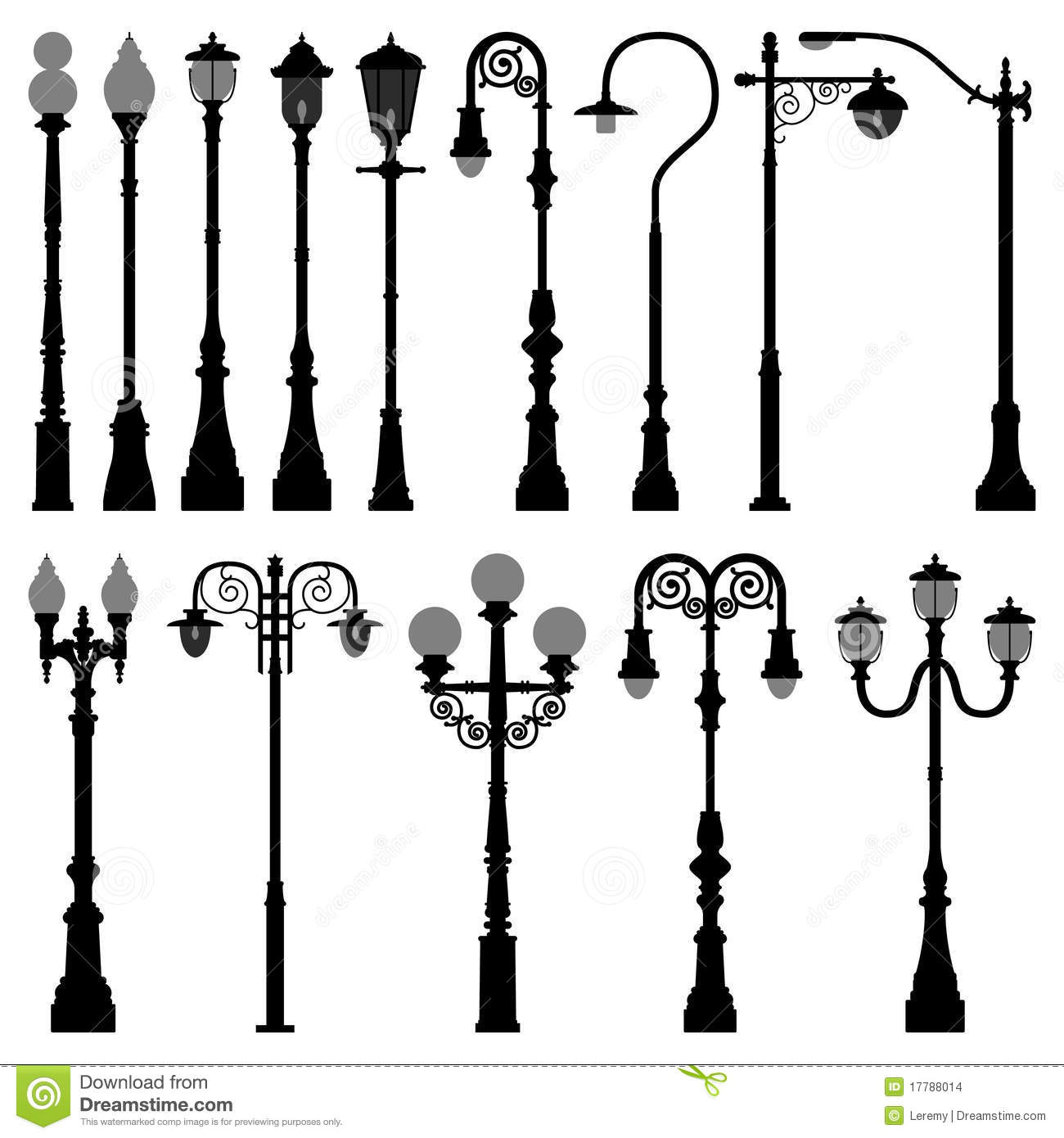 Lamp Post Lamppost Street Road Light Pole Stock Vector