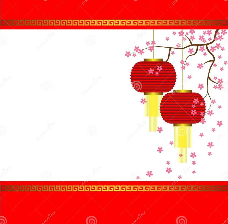 lamp and sakura on chinese new year background stock vector