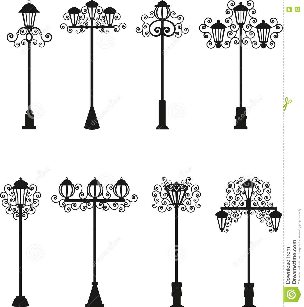 Lamps A Vector Of Black Color, Street Lighting, Patterns