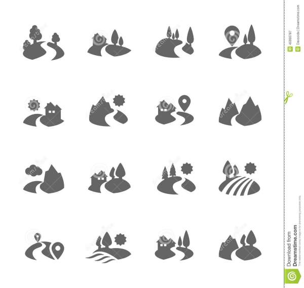 Land Icons stock vector Illustration of forest