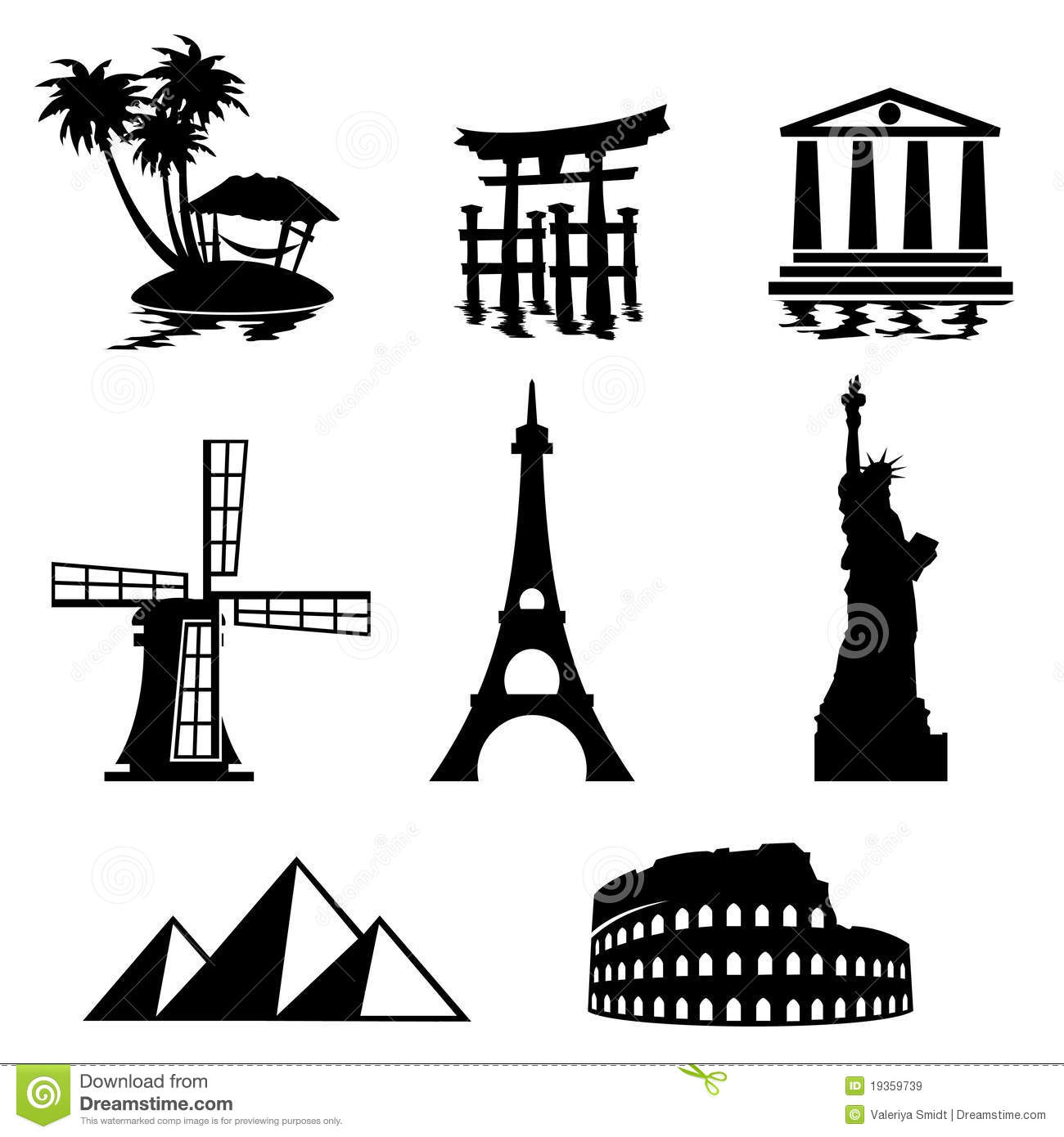 Landmark Icons Stock Vector Illustration Of Building