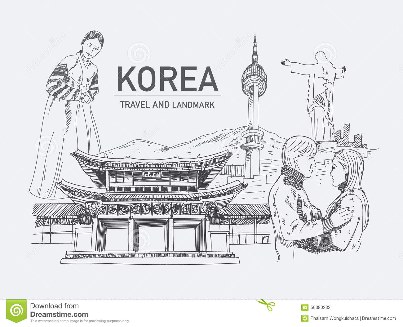 Landmarks In Korea Stock Vector