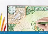 Landscape Architect Design Backyard Plan Stock Photo ...