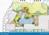 Landscape Architect Design Backyard Plan For Villa Stock ...