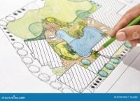 Landscape Architect Design Backyard Plan For Villa Stock