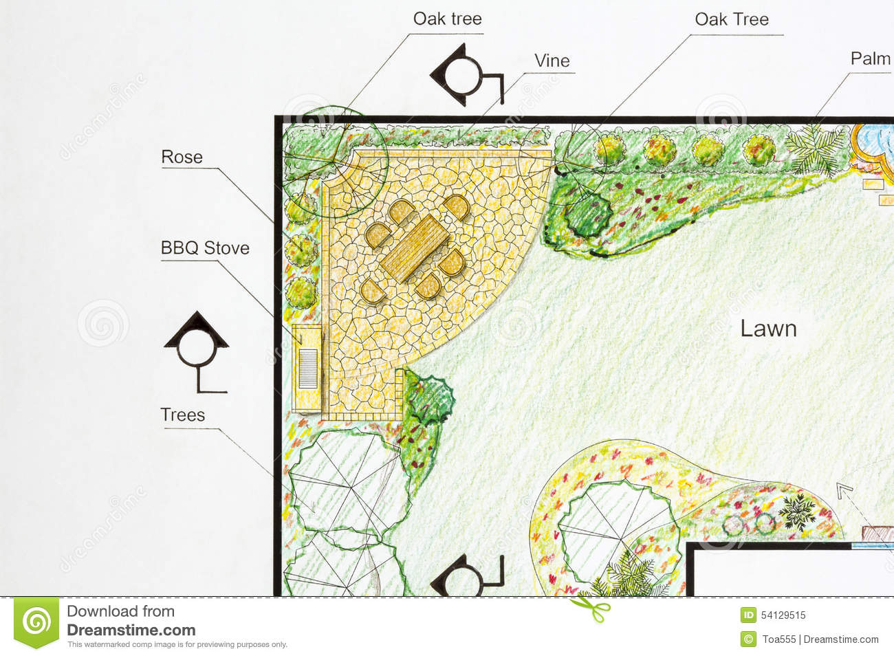 landscape architect design l shape garden plan - boisholz
