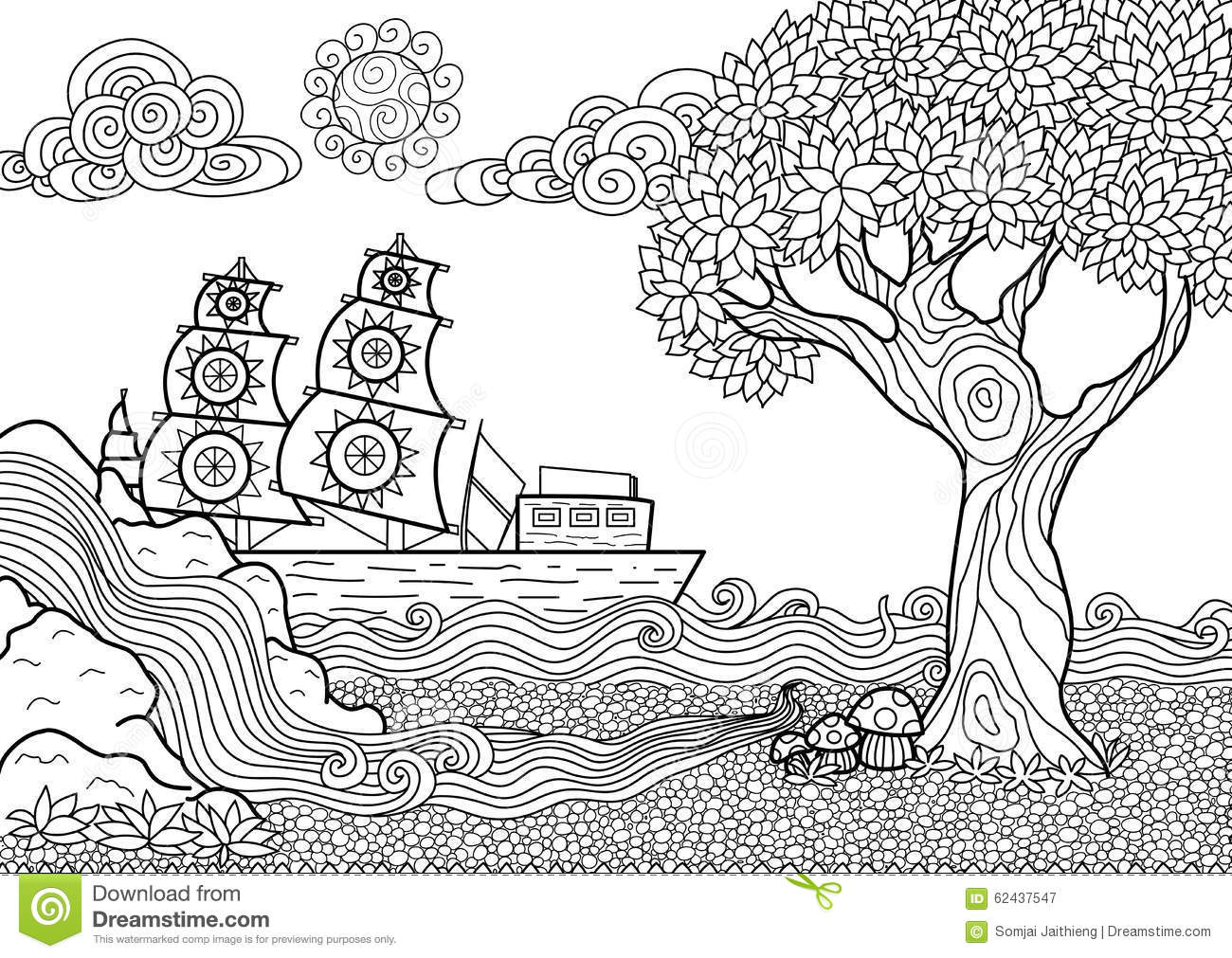 Landscape coloring book stock vector Illustration of american  62437547