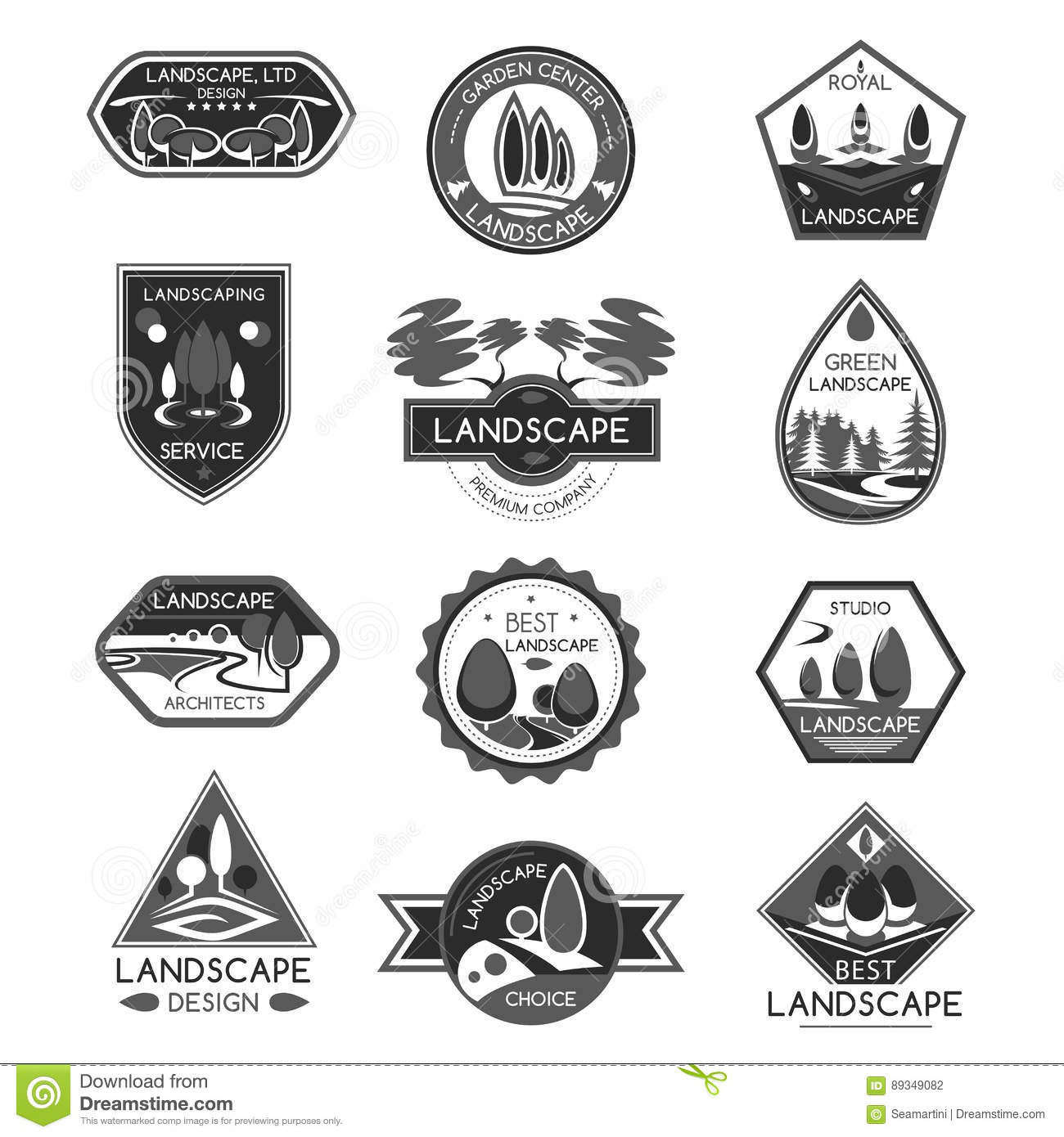 Landscape Design Company Vector Icons Set Stock Vector