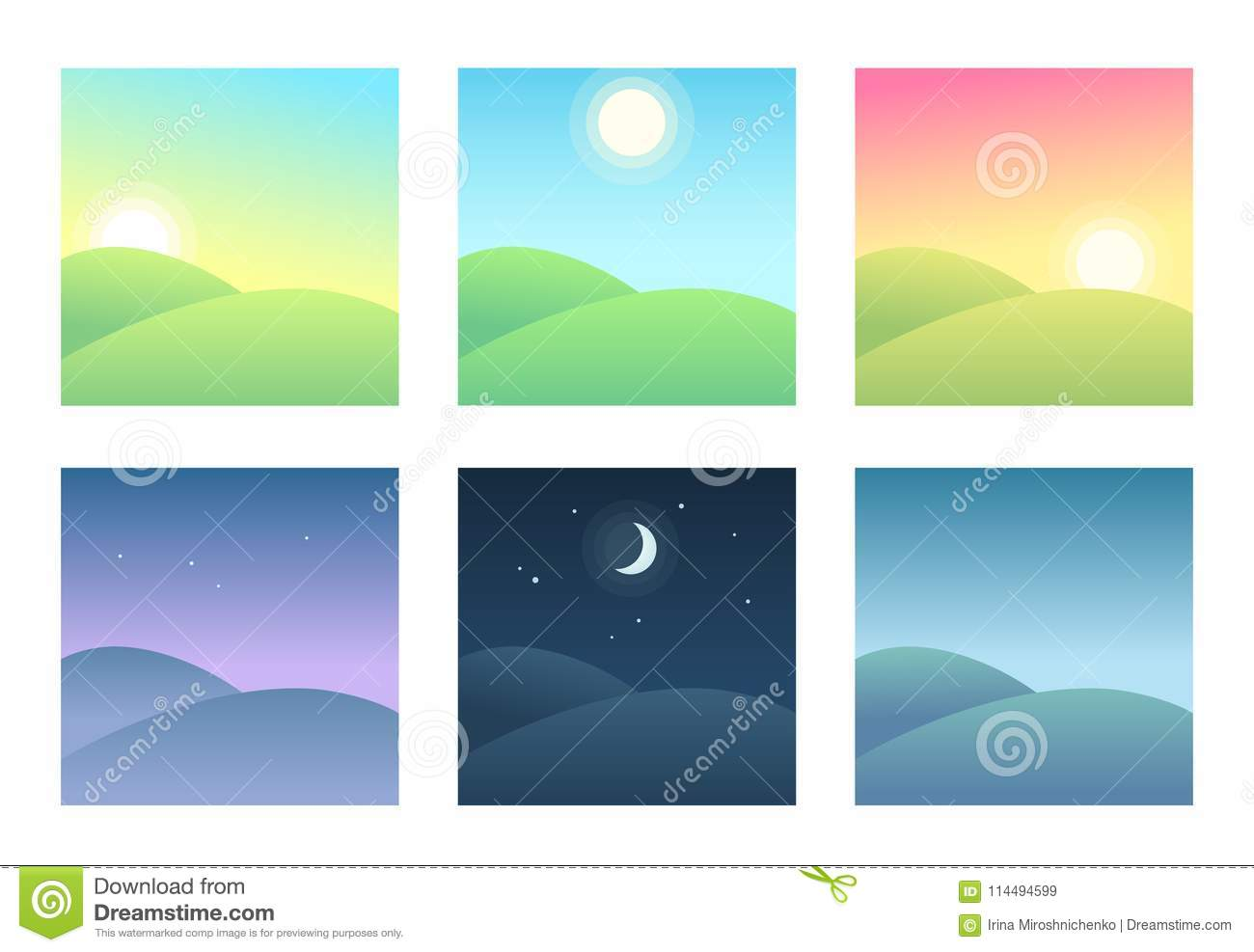 Landscape At Different Times Of Day Stock Vector