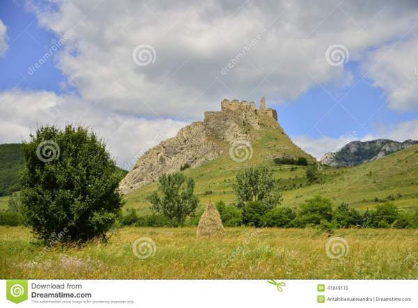 Landscape With Fortress Tree Haystack And Meadow Stock