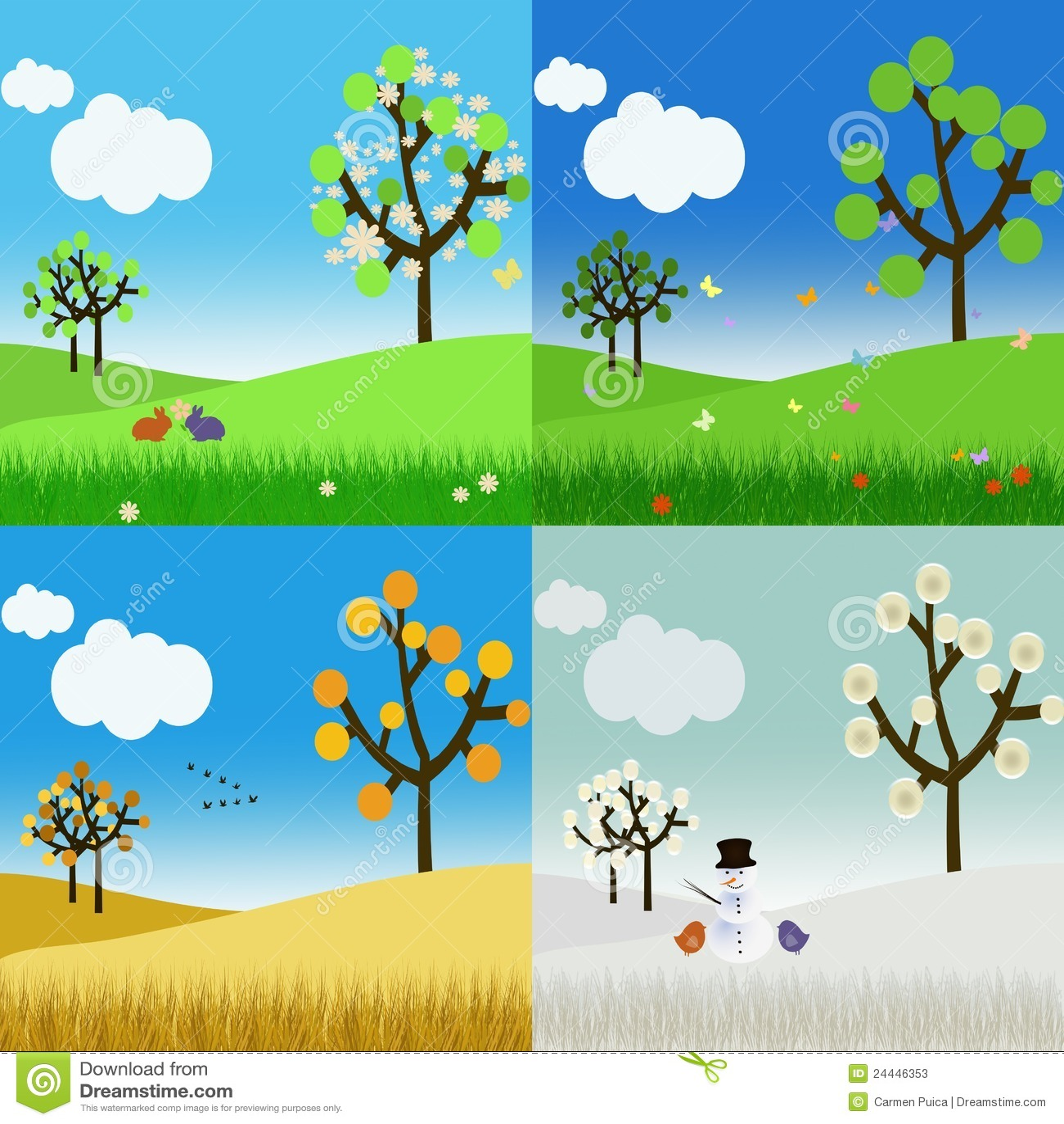 Landscape In The Four Seasons Stock Illustration