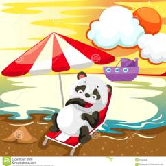 Beach Umbrella For Chair Couch And Covers Dogs Landscape Panda Relaxing On The Royalty Free Stock Image - Image: 24254536