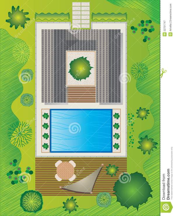 landscape plan with house and pool
