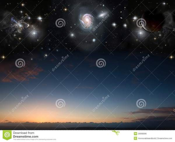 Landscape With Planets In Night Sky Stock