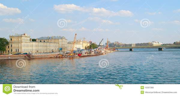 landscape with river neva stock