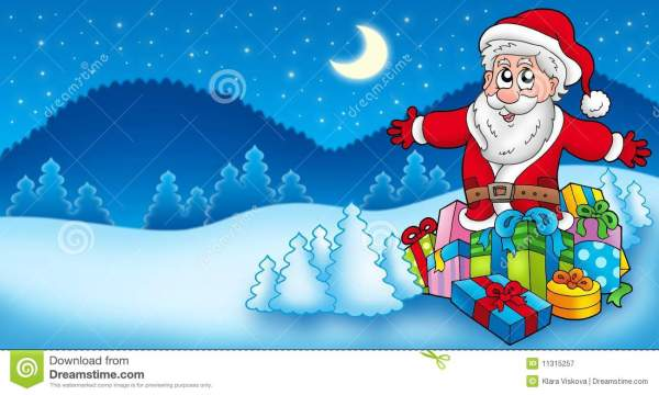 landscape with santa claus 6 stock