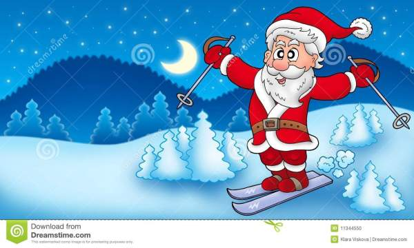 landscape with skiing santa claus