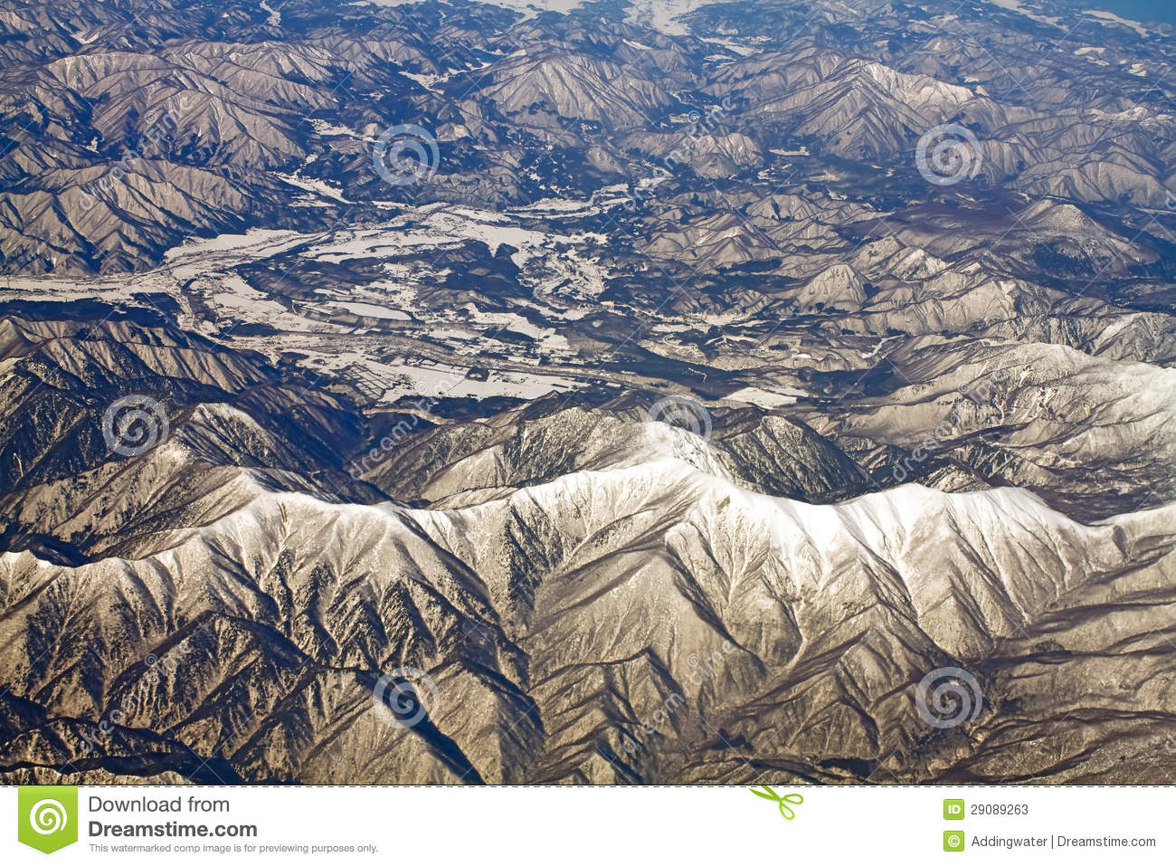 Landscape Of Snow Mountains In Japan Near Tokyo Stock