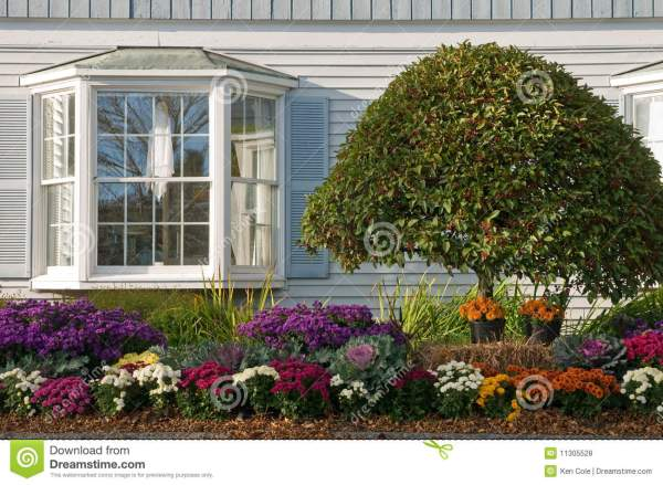 landscaping bay window stock