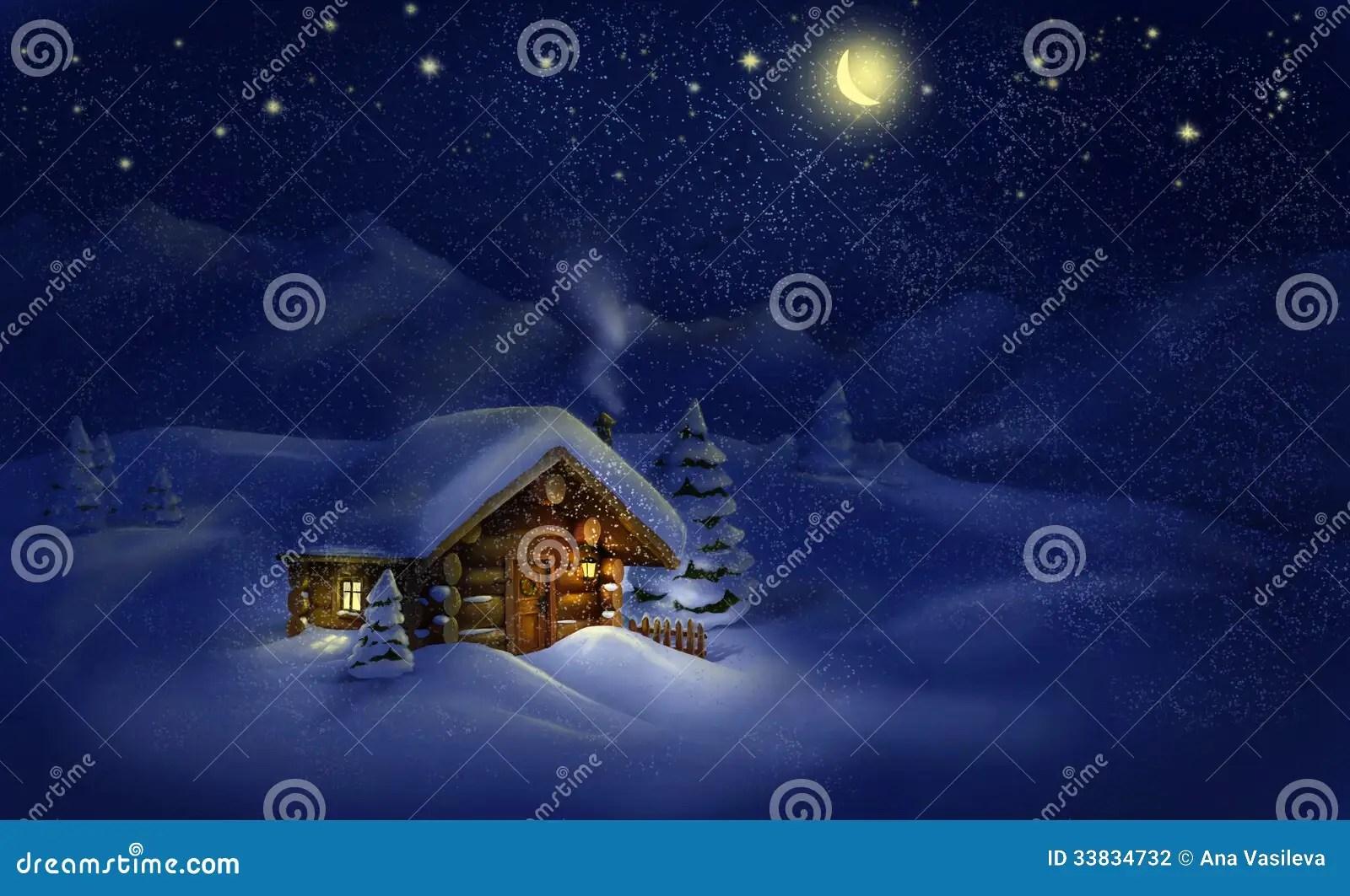 Landschaft Der Heiligen Nacht Htte Schnee Kiefer