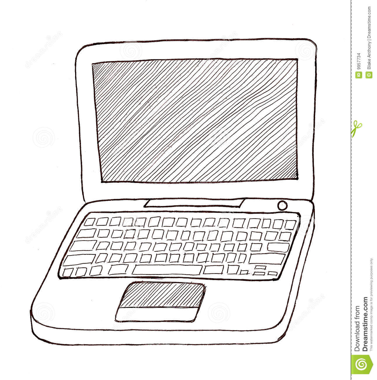Laptop Black And White Stock Illustration Illustration Of
