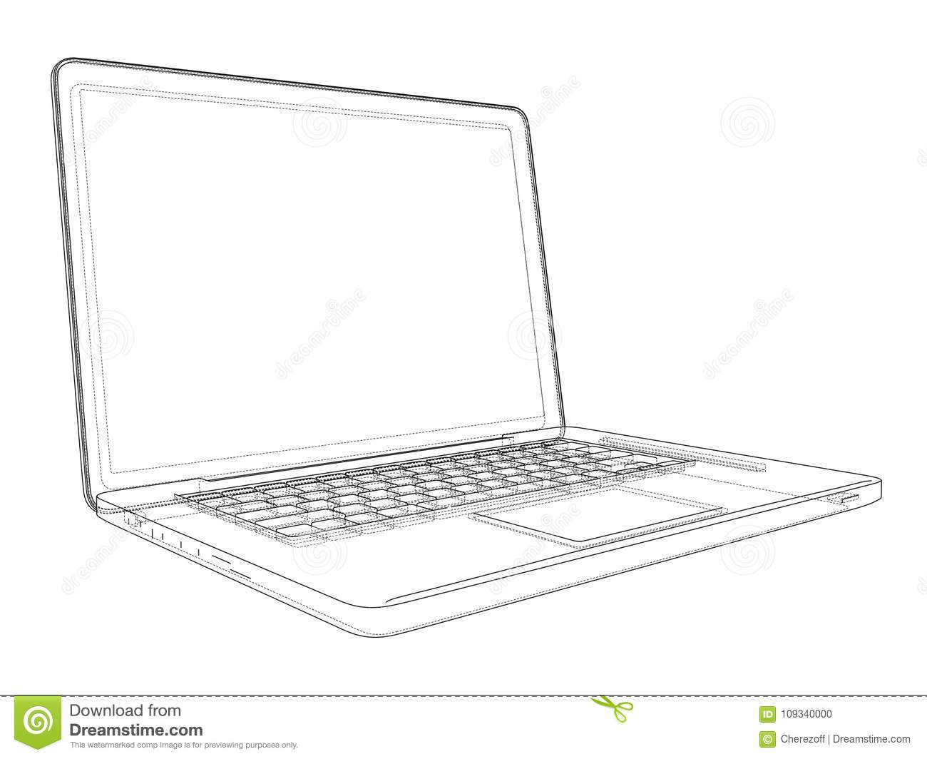 Laptop Computer Notebook Outline Vector Stock Vector