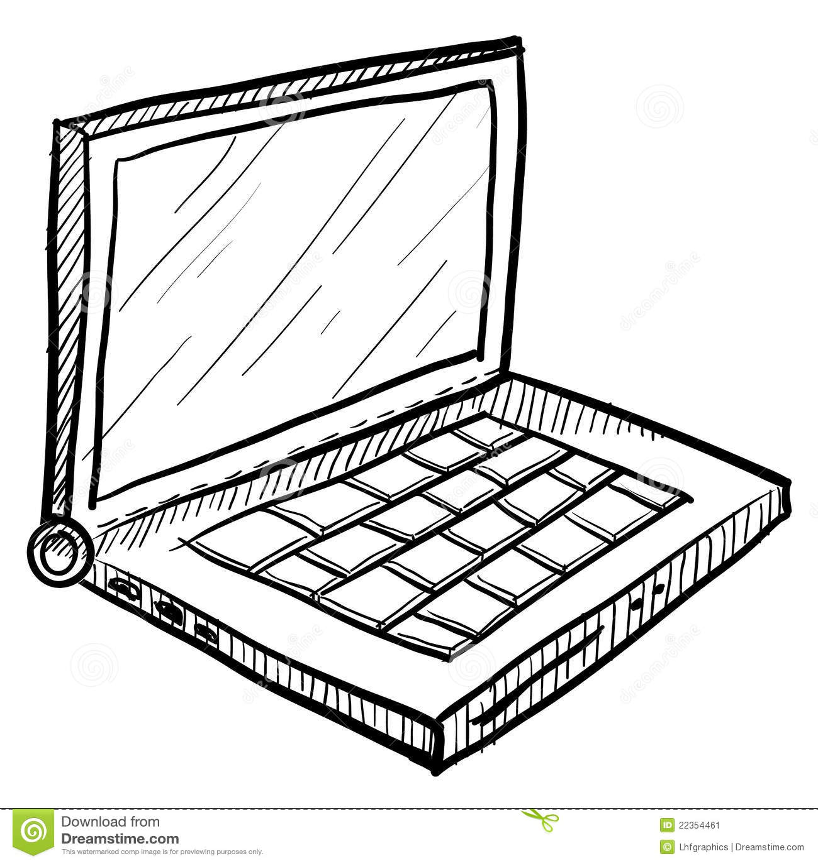 Laptop Computer Sketch Stock Vector Illustration Of Plug