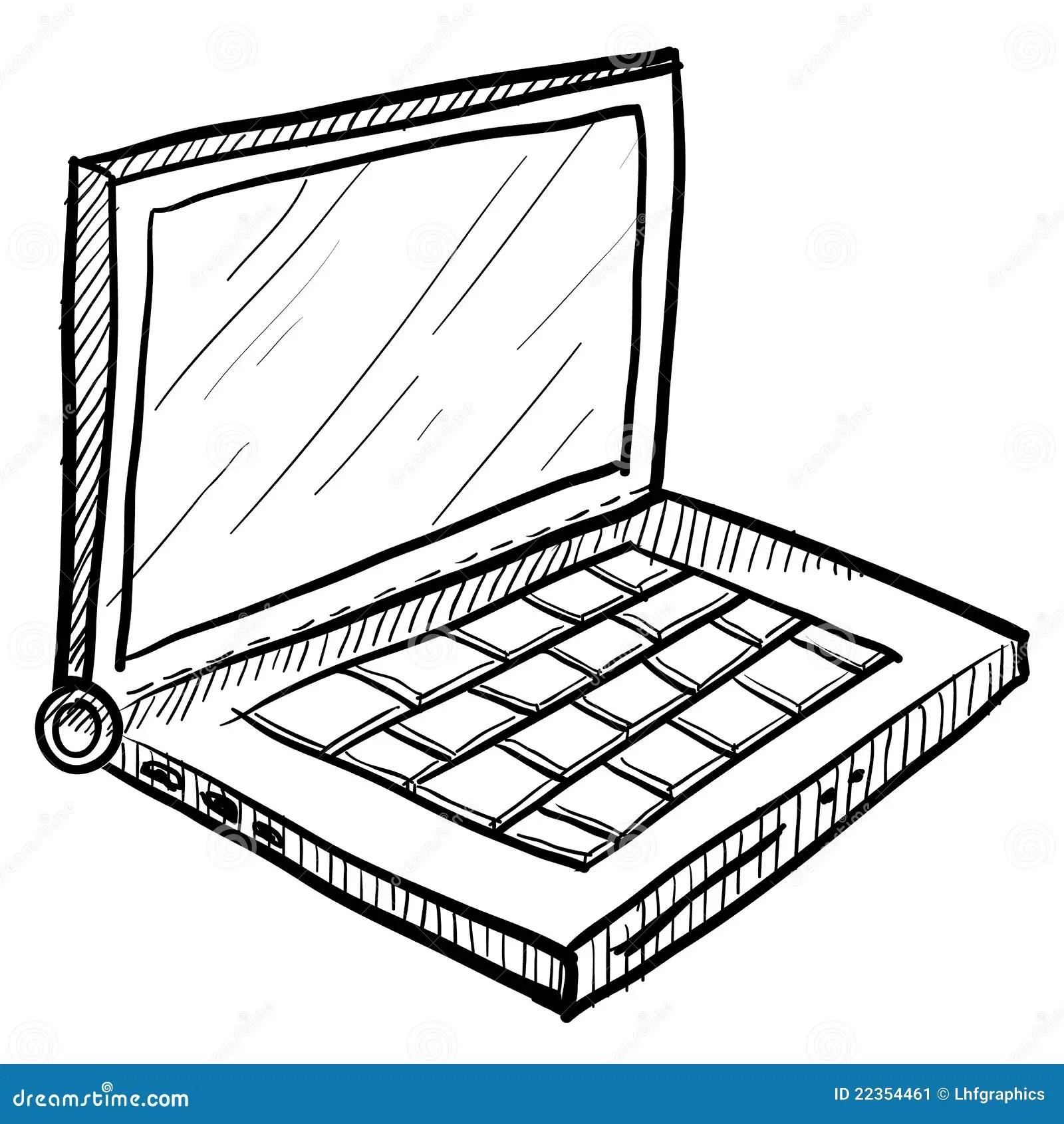 Laptop Computerschets Vector Illustratie Illustratie