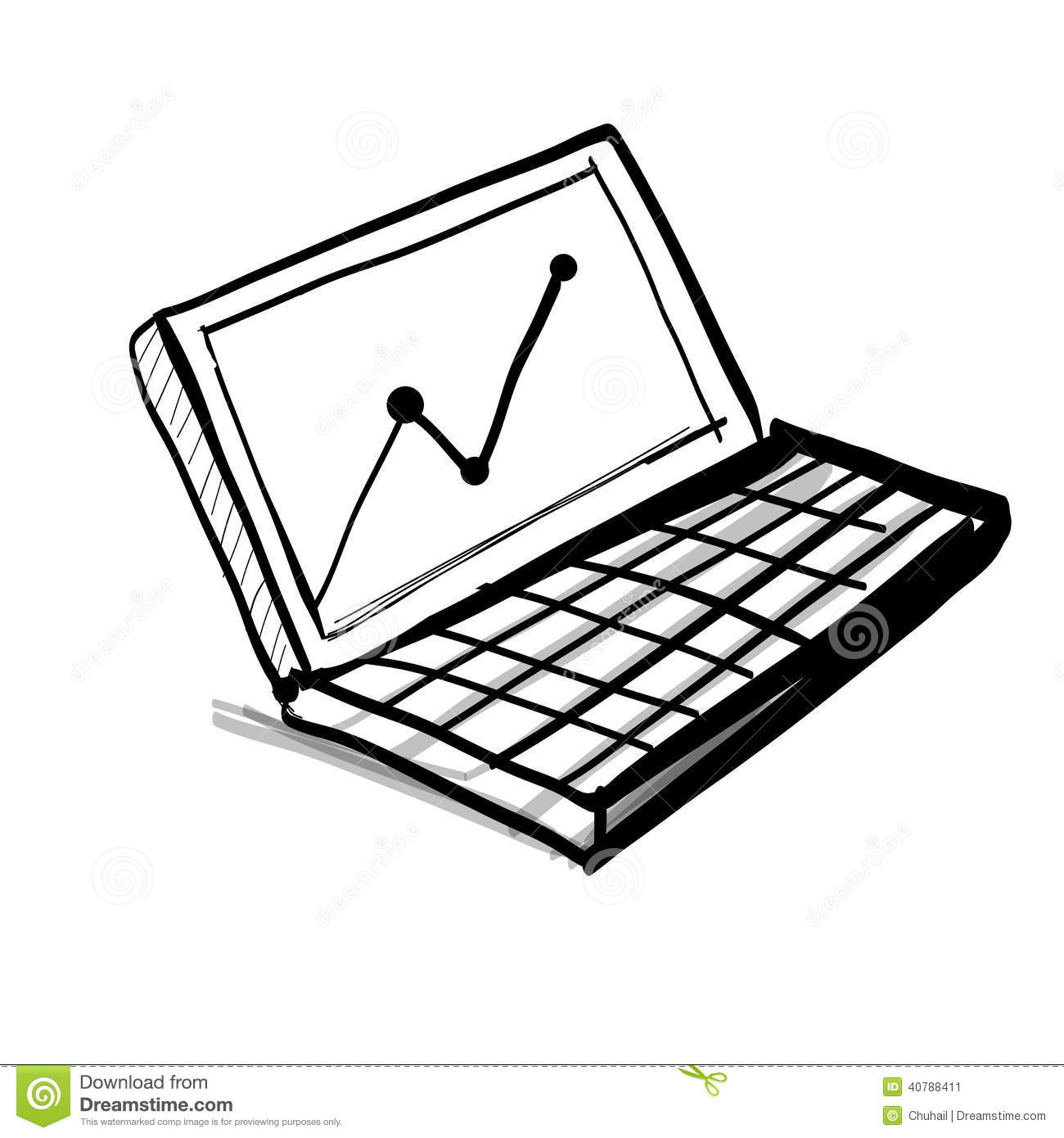 Laptop With Diagram And Chart Stock Vector