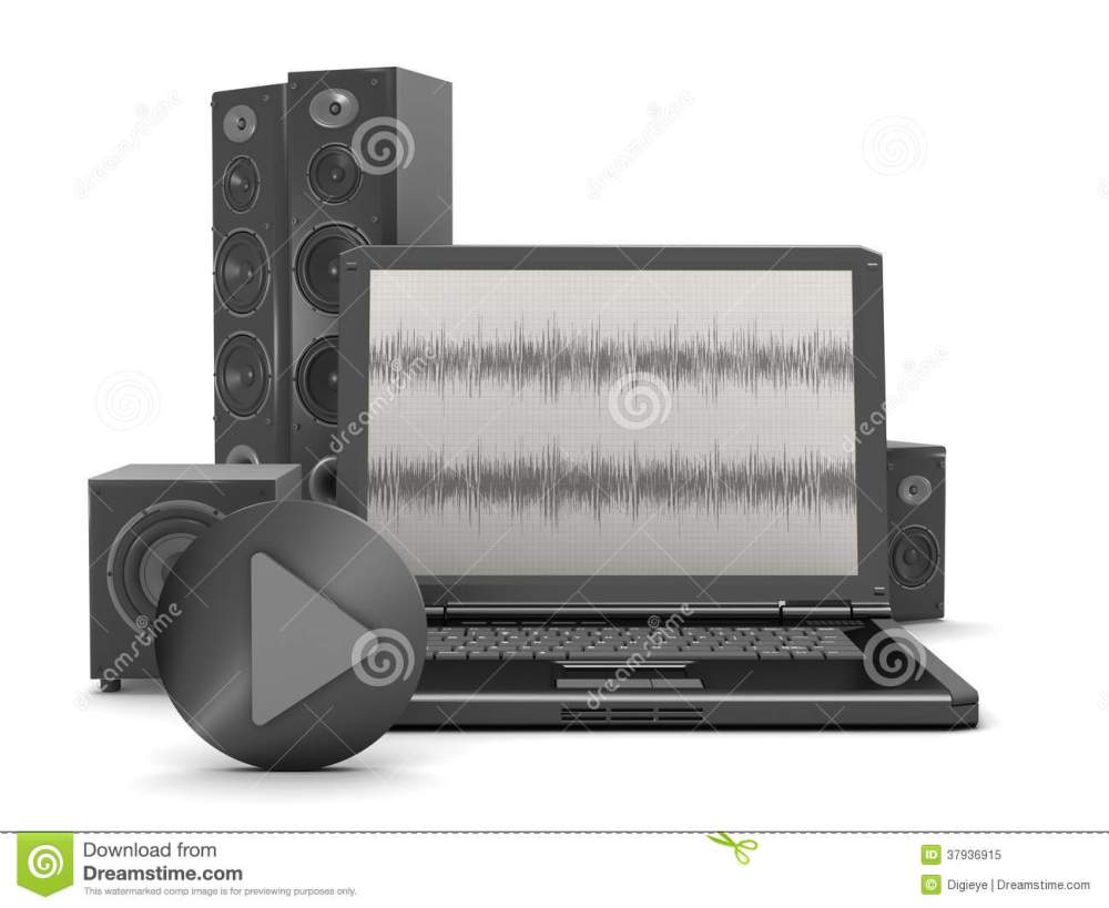 medium resolution of laptop with audio diagram on screen and home theatre system