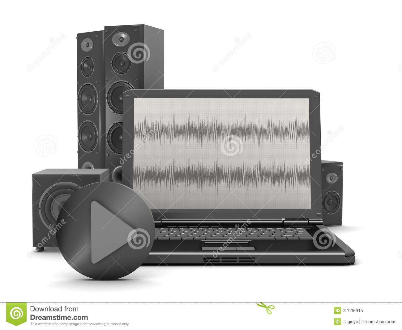 hight resolution of laptop with audio diagram on screen and home theatre system