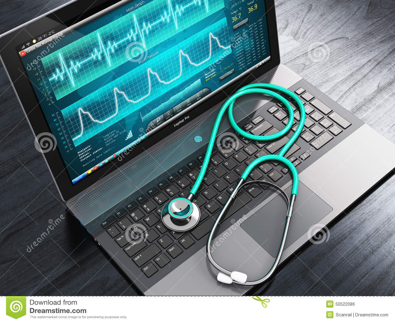 heart beat diagram vauxhall vectra abs wiring laptop with medical diagnostic software and stethoscope stock illustration - image: 50522086