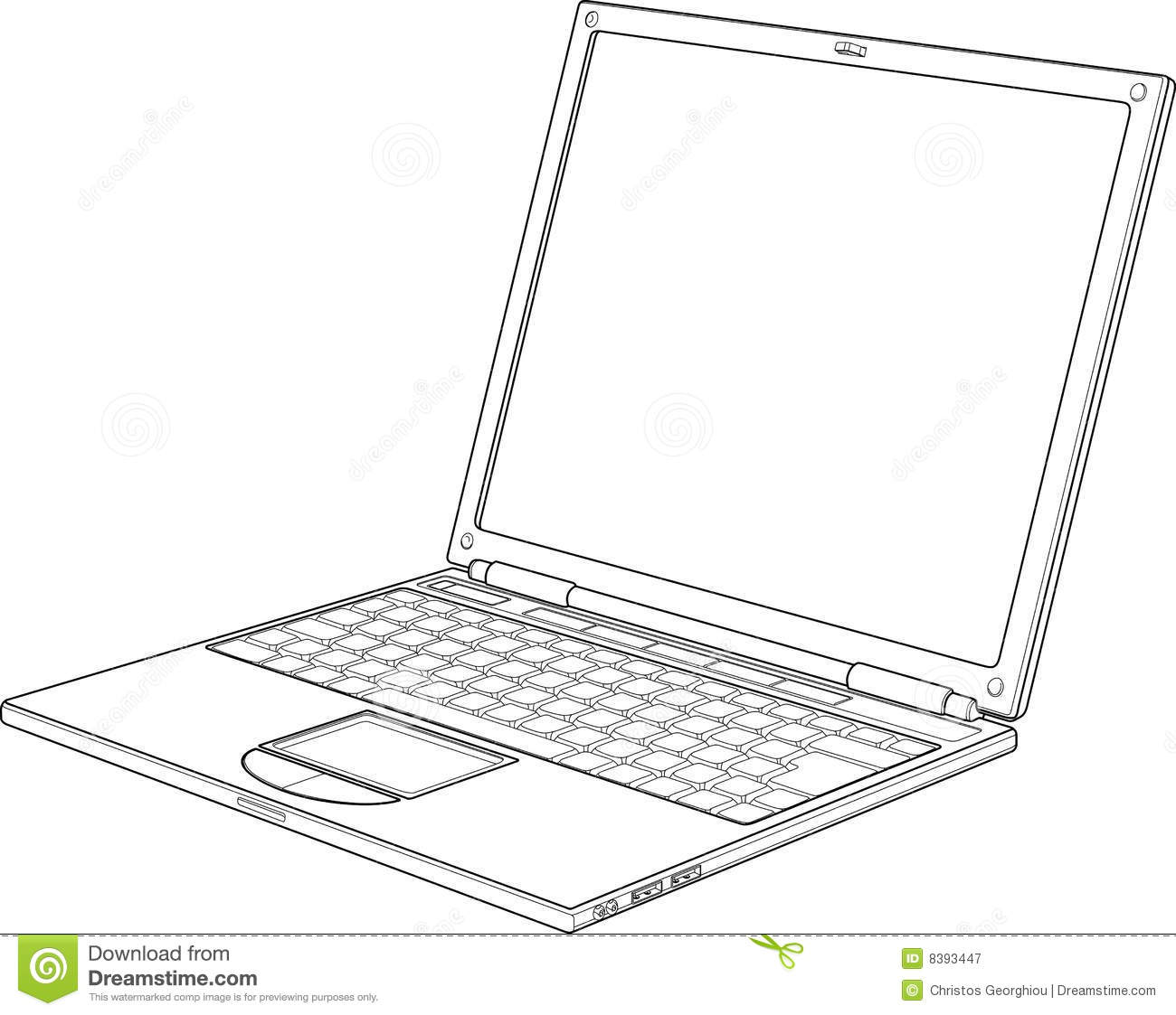 Laptop Outline Vector Illustration Stock Vector