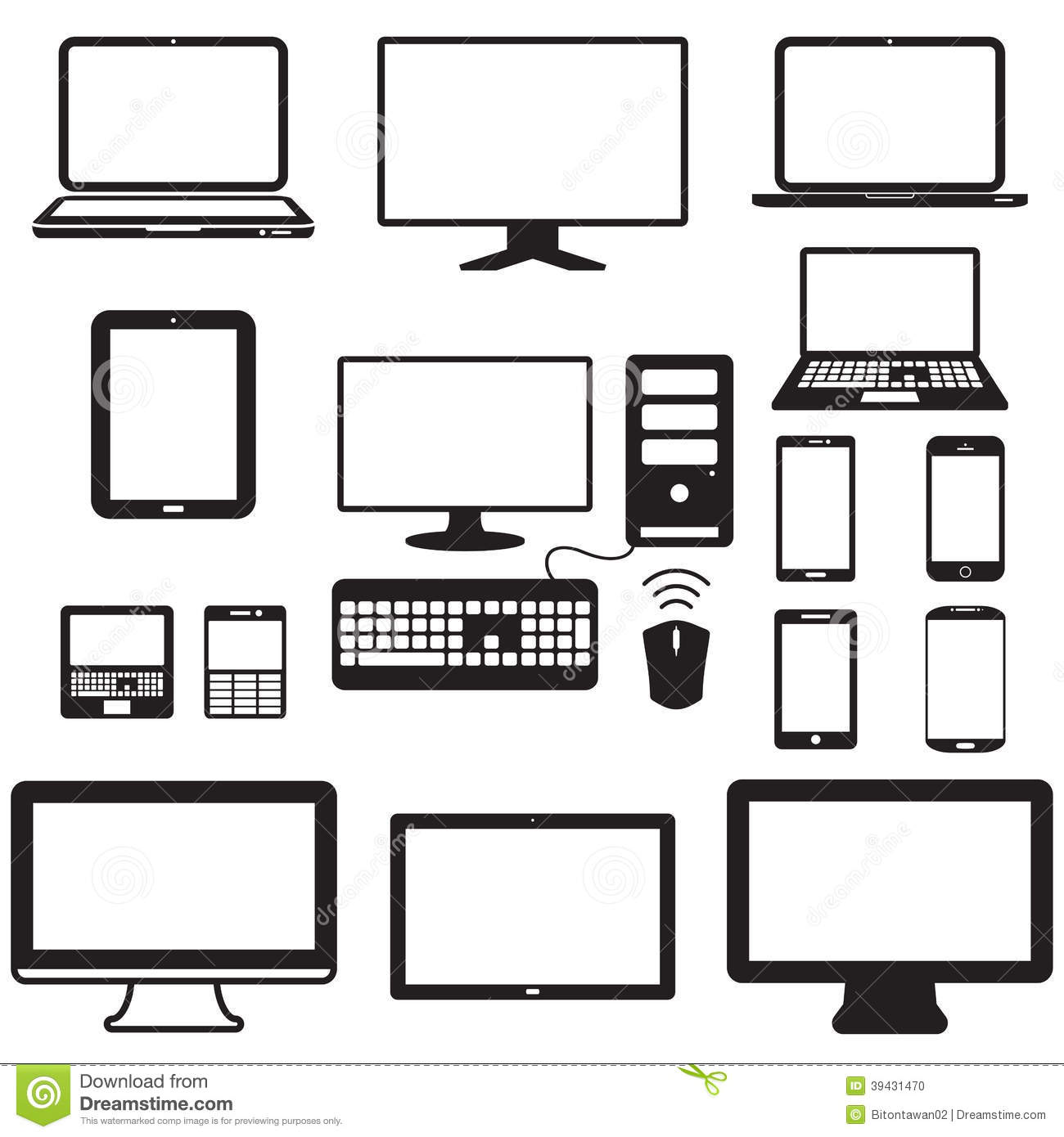 Laptop Tablet Computer Monitor And Mobile Screen Stock
