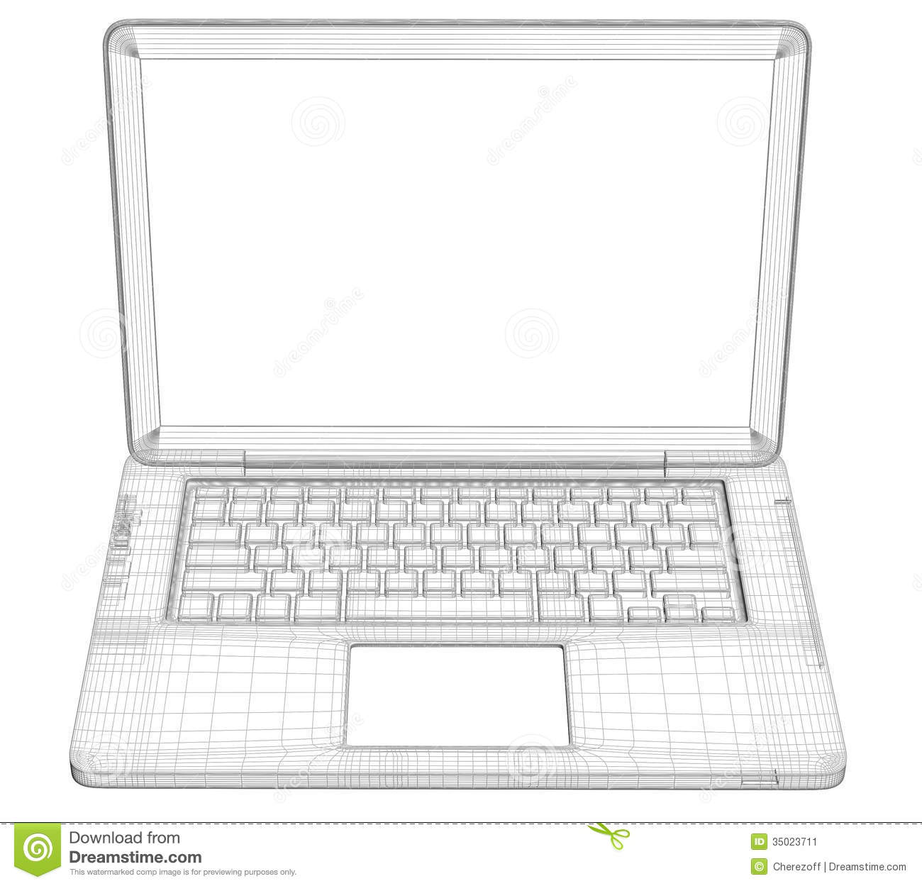 Laptop Wire Frame Stock Image