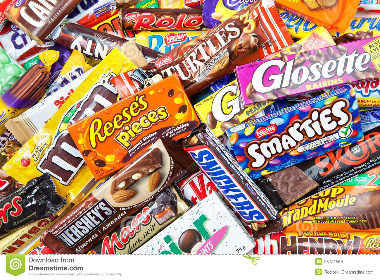 Large Assortment Of Chocolate Products Editorial Stock