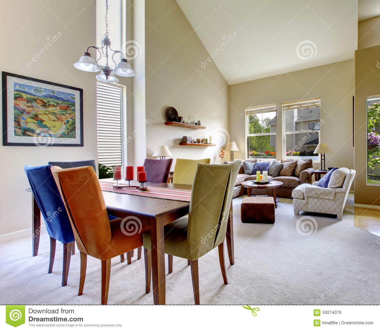 large beige bright living