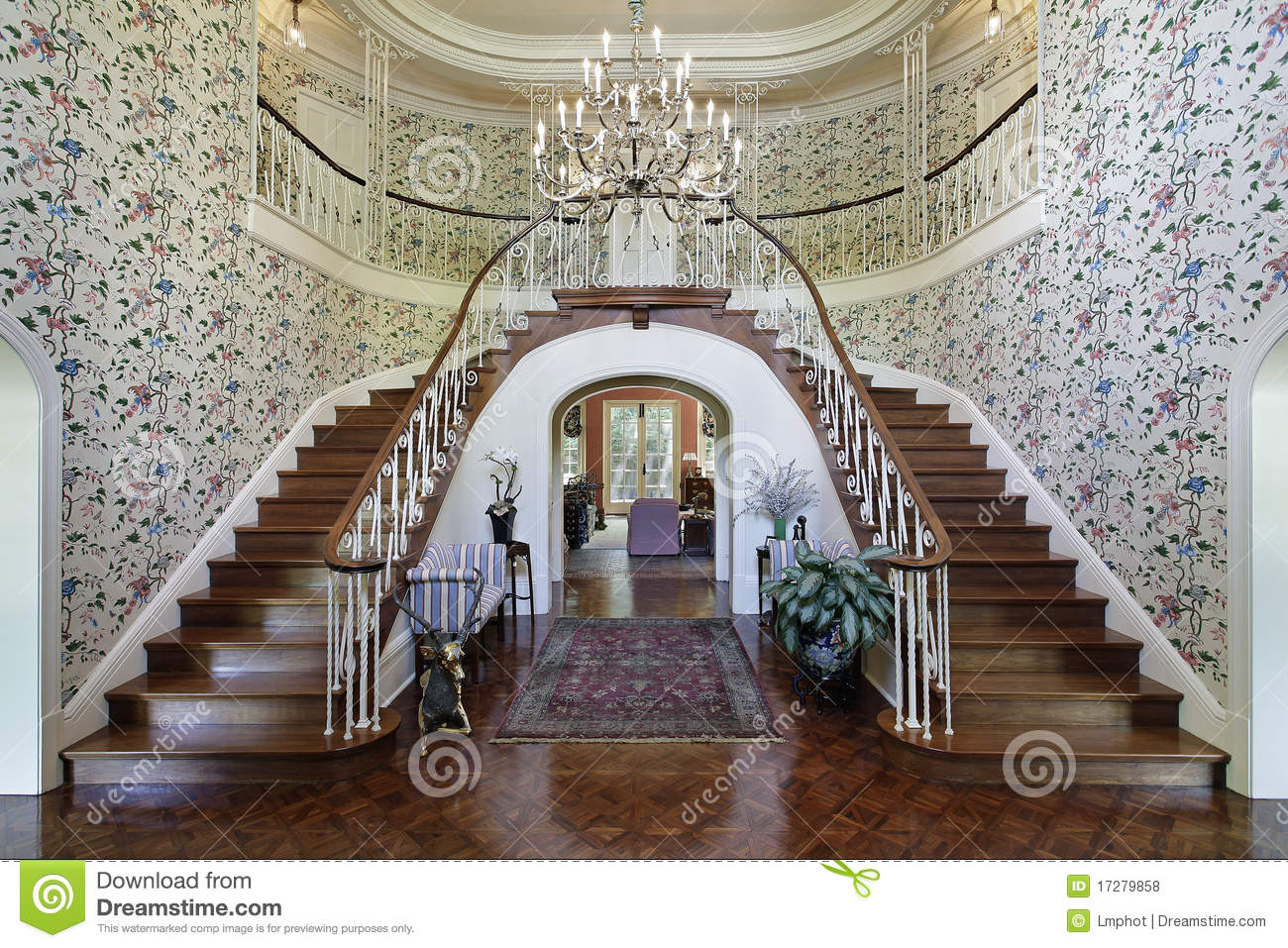 Large Foyer With Double Staircase Royalty Free Stock