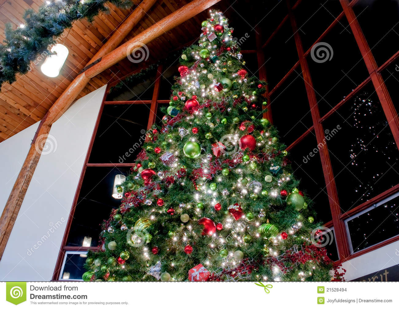 large indoor decorated christmas tree stock photo image
