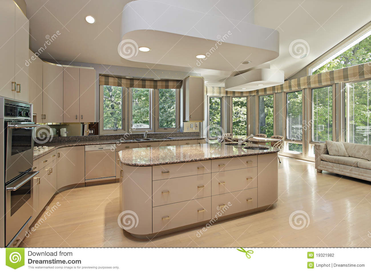 kitchen island lighting fixtures outlet large with center stock photo - image of ...