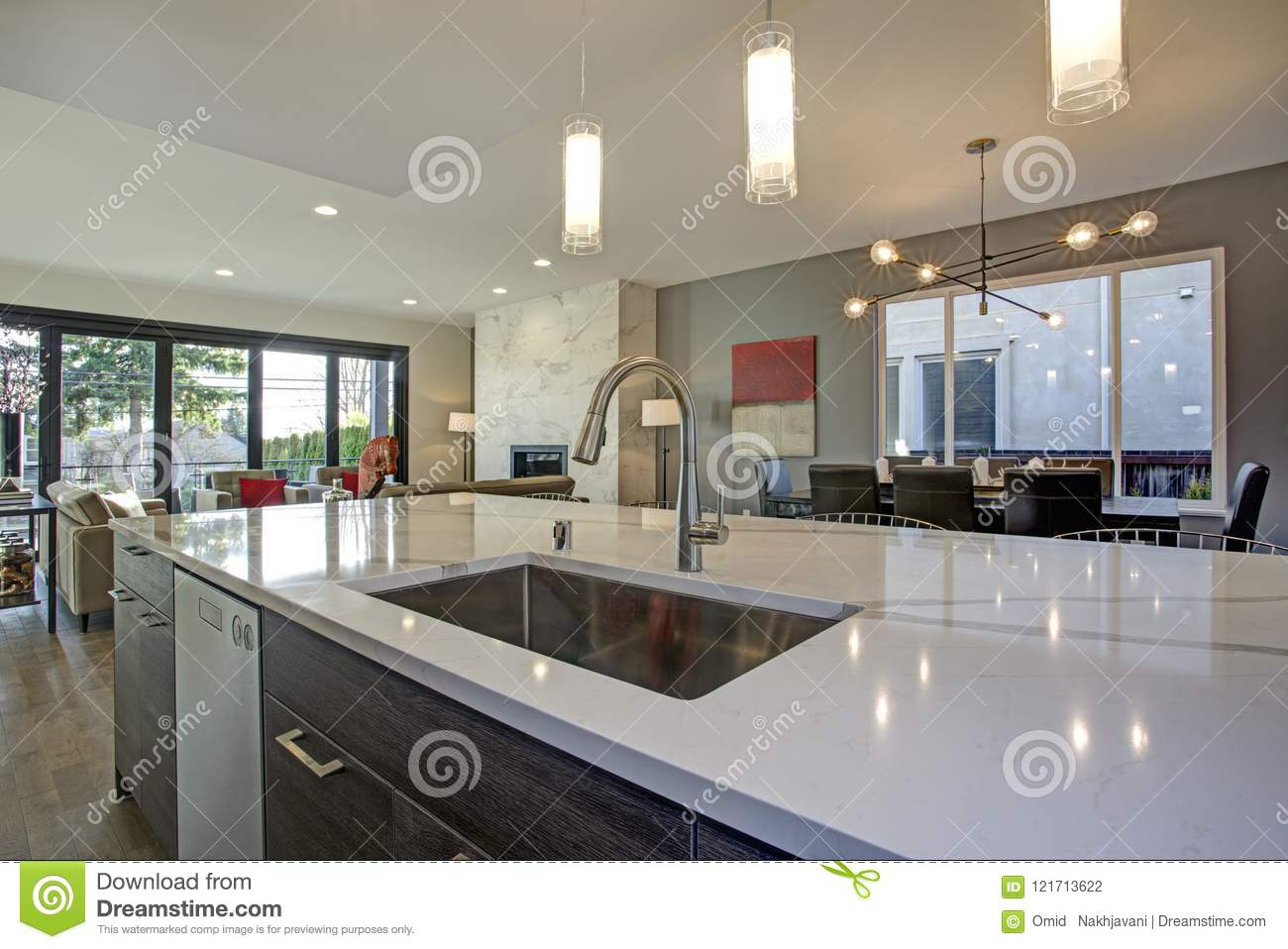 White And Gray Kitchen Room Interior With Open Floor Plan