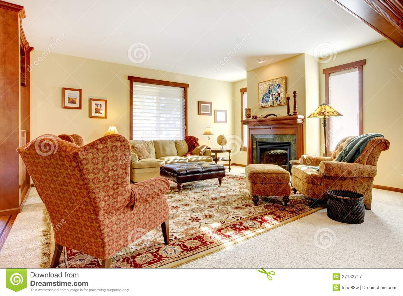 Large Luxury Living Room With Fireplace Royalty Free Stock
