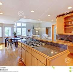 Granite Top Kitchen Island Bosch Appliances Large Luxury Modern Wood . Stock Image - ...