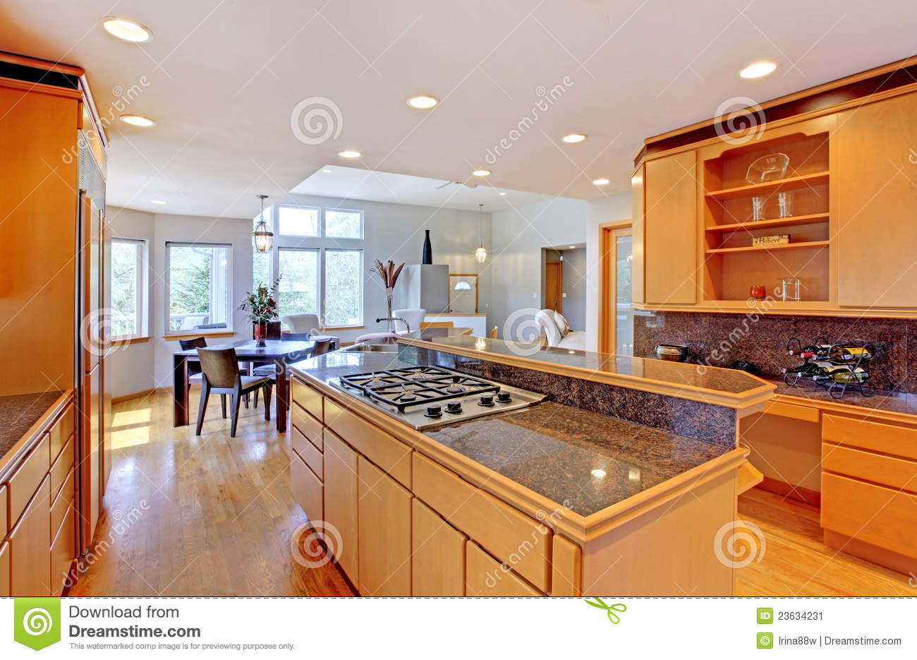 granite top kitchen island cabinet hardware hinges large luxury modern wood . stock image - ...
