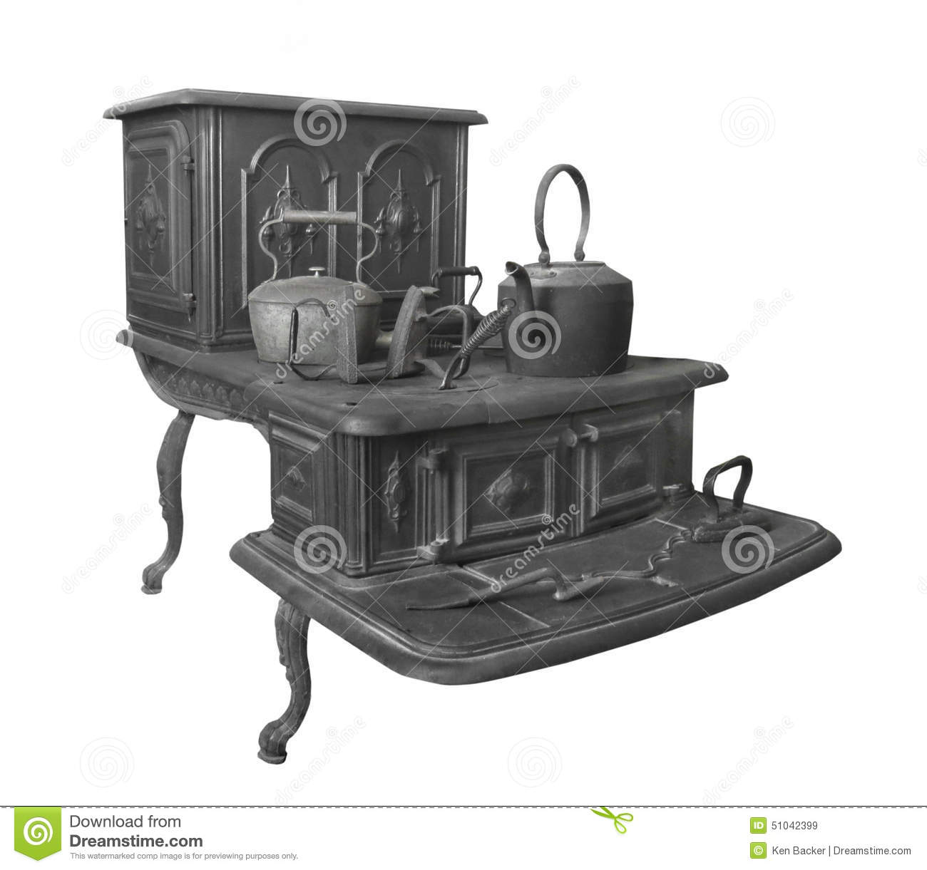 cast iron kitchen stove wall unit carcasses large old isolated stock photo image