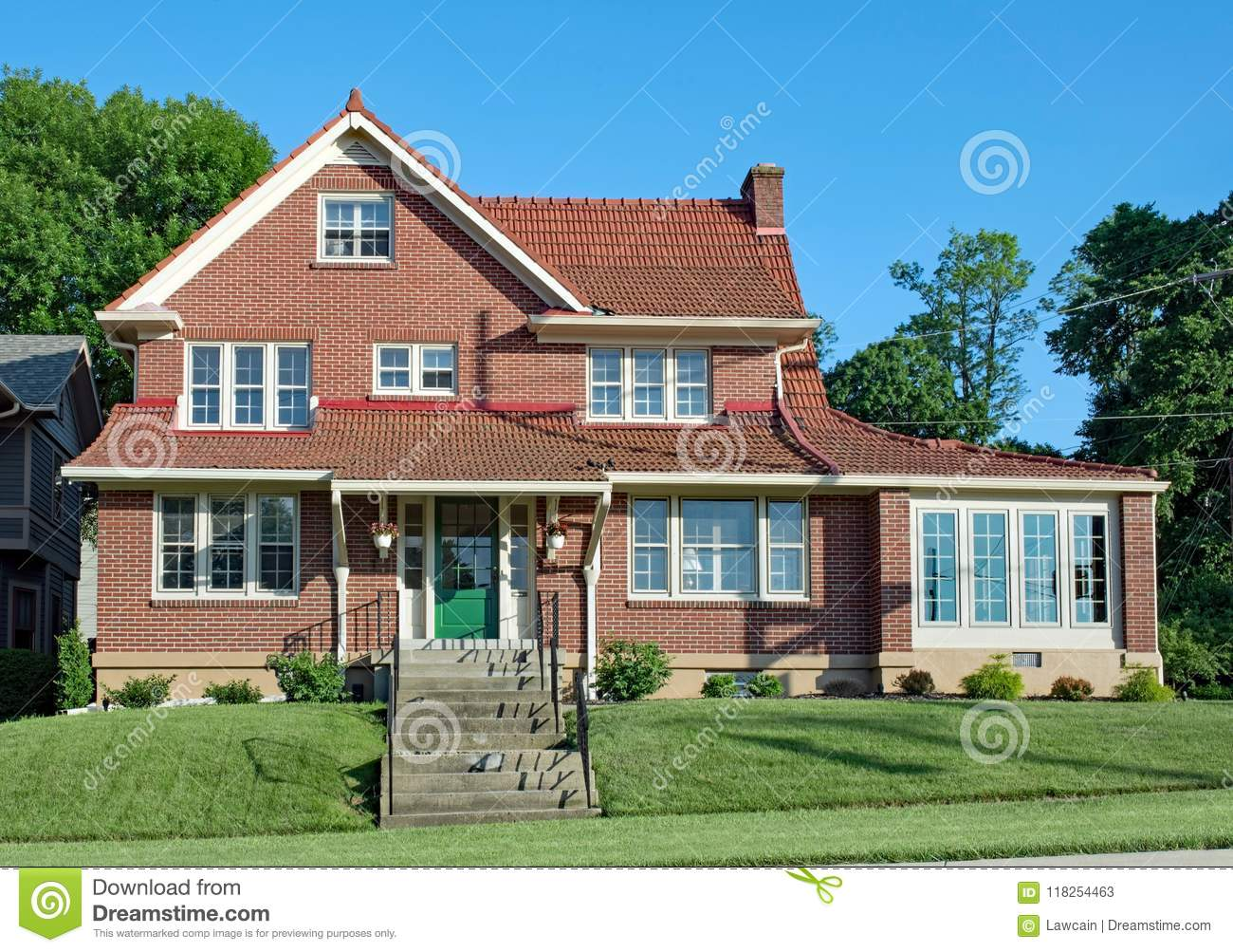 https www dreamstime com large red brick house tile roof old green door enclosed sun room late afternoon image118254463