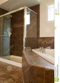 Master Bath With Large Glass Shower Stock Photo ...